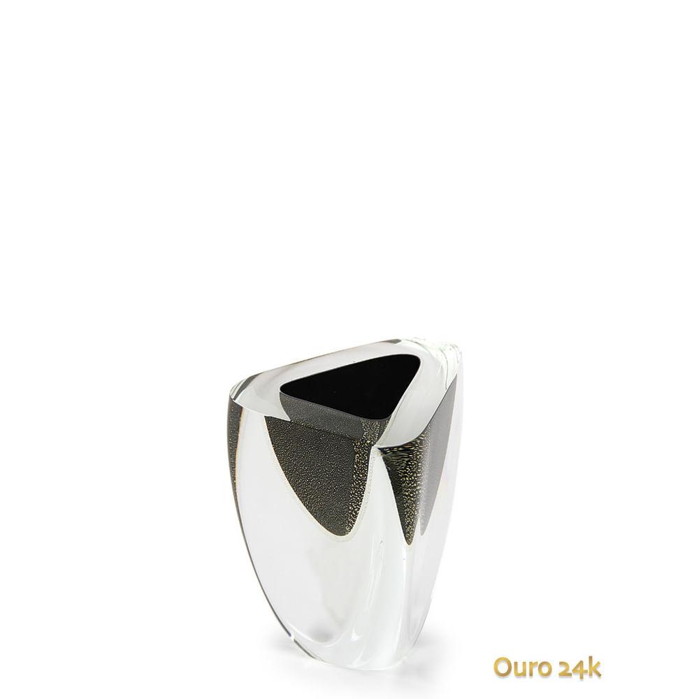 Vaso Triangular nº 4 Preto com Ouro Murano Cristais Cadoro