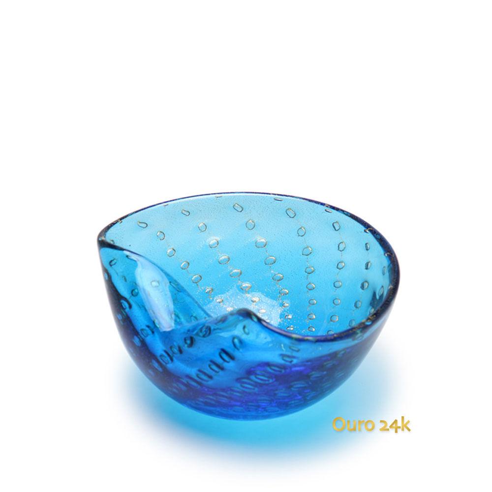 Bowl 1 Tela Água-marinha com Ouro Murano Cristais Cadoro