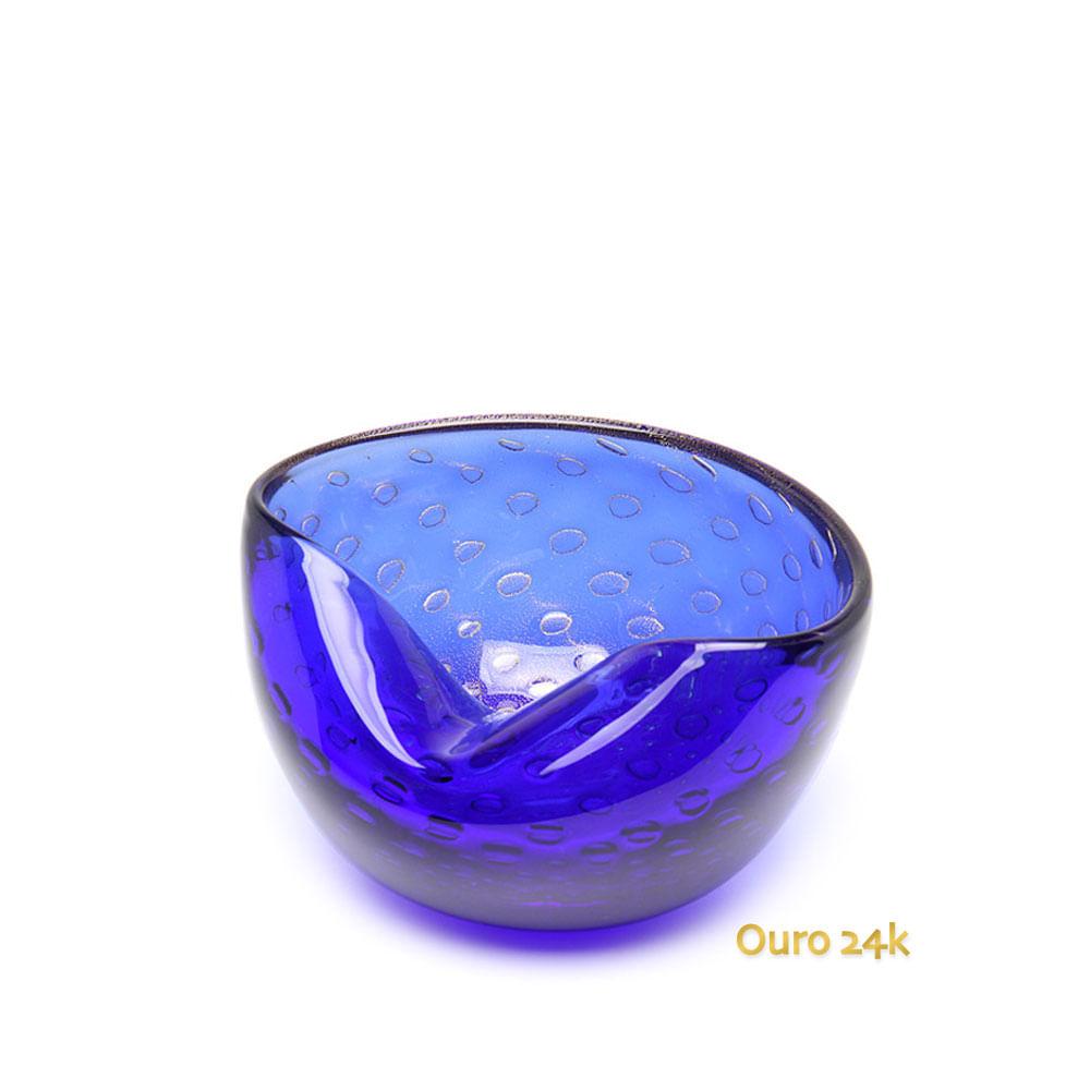 Bowl 1 Tela Azul com Ouro Murano Cristais Cadoro