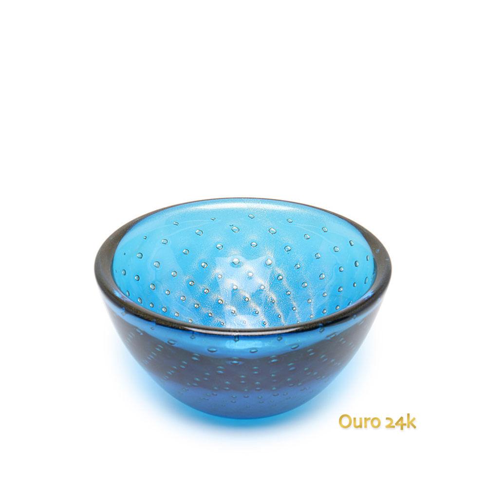 Bowl Tela Água-marinha com Ouro Murano Cristais Cadoro
