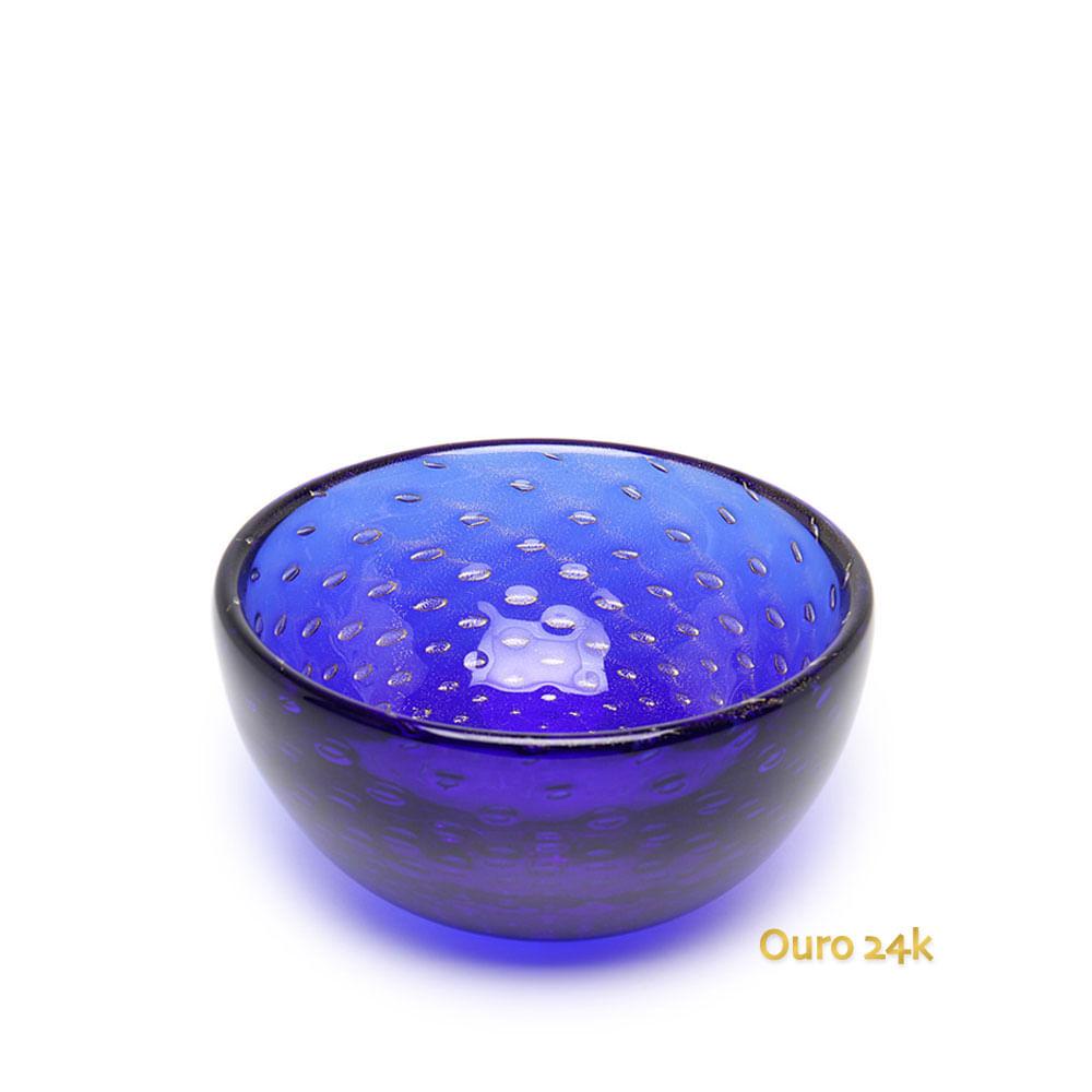 Bowl Tela Azul com Ouro Murano Cristais Cadoro