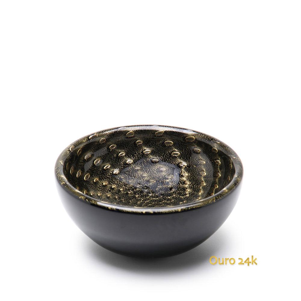 Bowl Tela Preto com Ouro Murano Cristais Cadoro