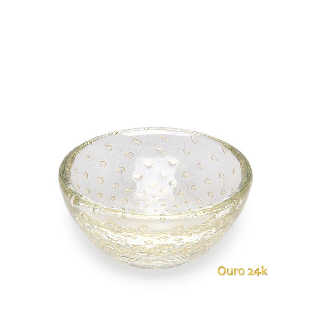 Bowl Tela Transparente com Ouro Murano Cristais Cadoro