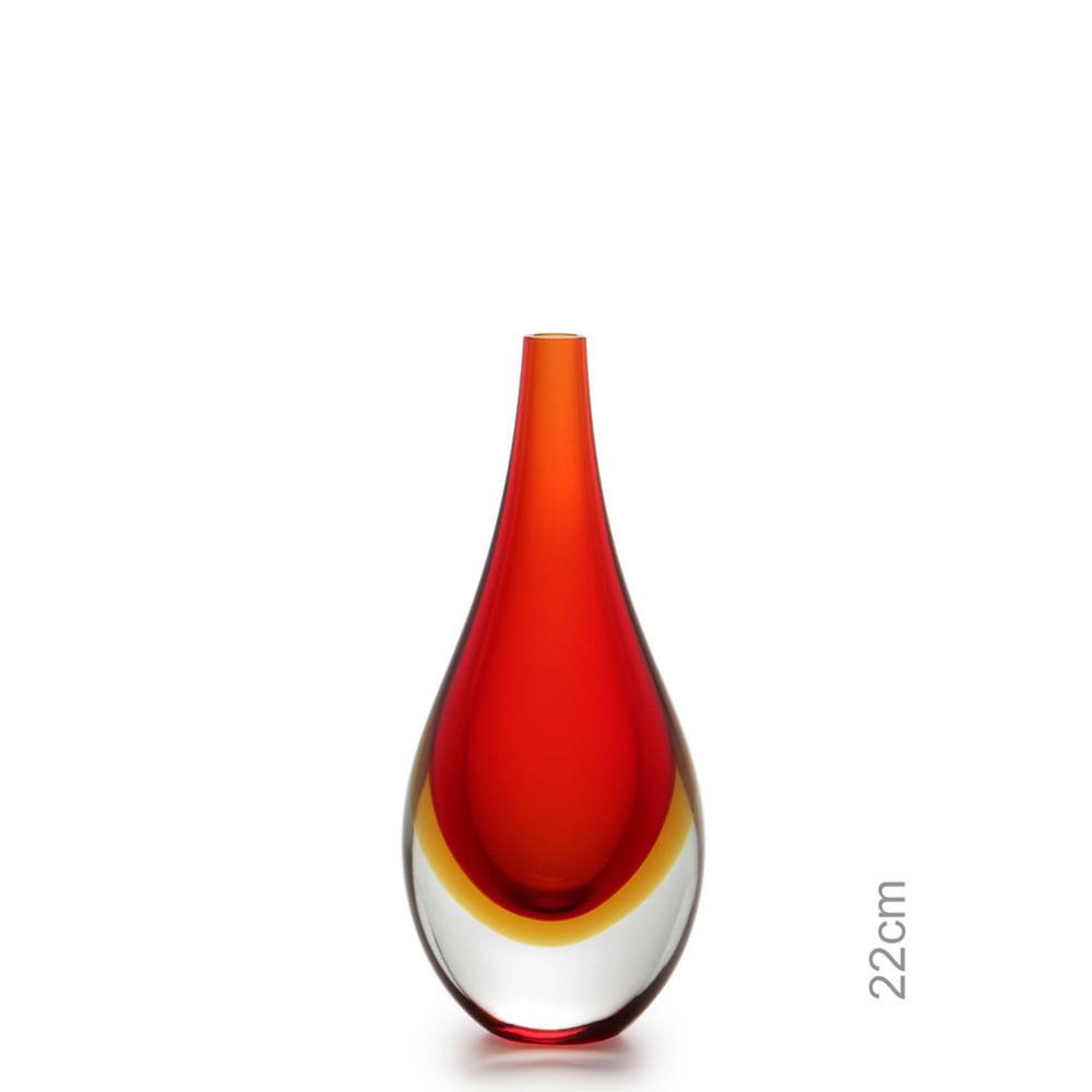 Gota Mini Média Bicolor Vermelha com Âmbar Murano Cristais Cadoro