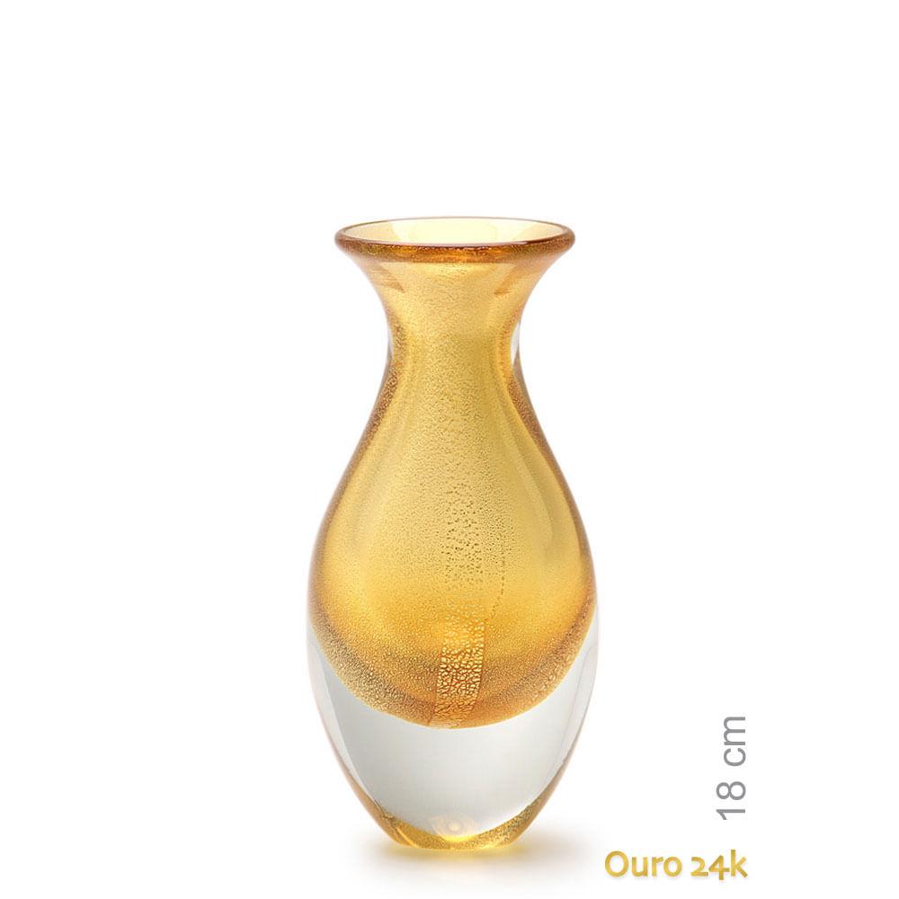 Vasinho 2 Âmbar com Ouro Murano Cristais Cadoro