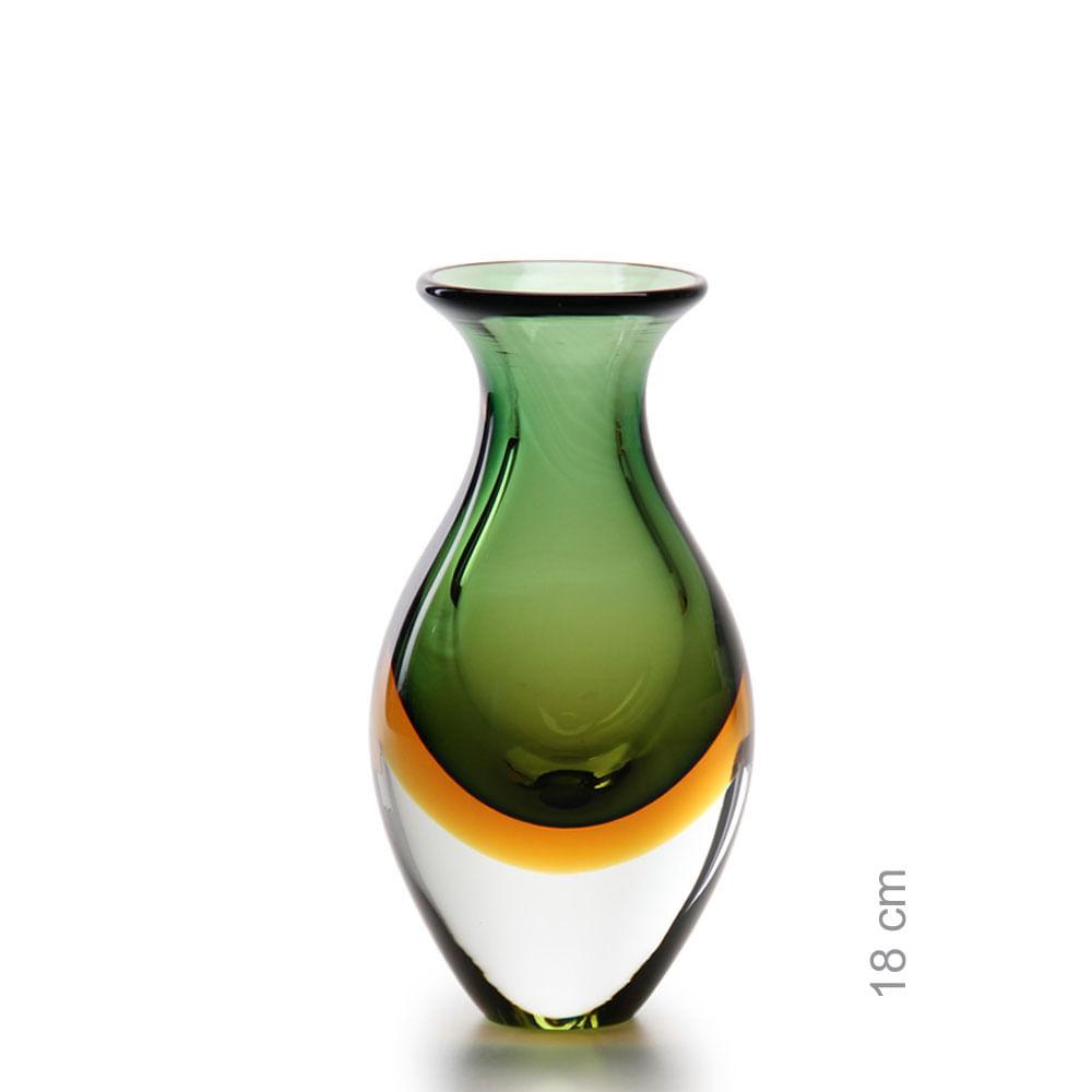 Vasinho 2 Bicolor Verde com Âmbar Murano Cristais Cadoro