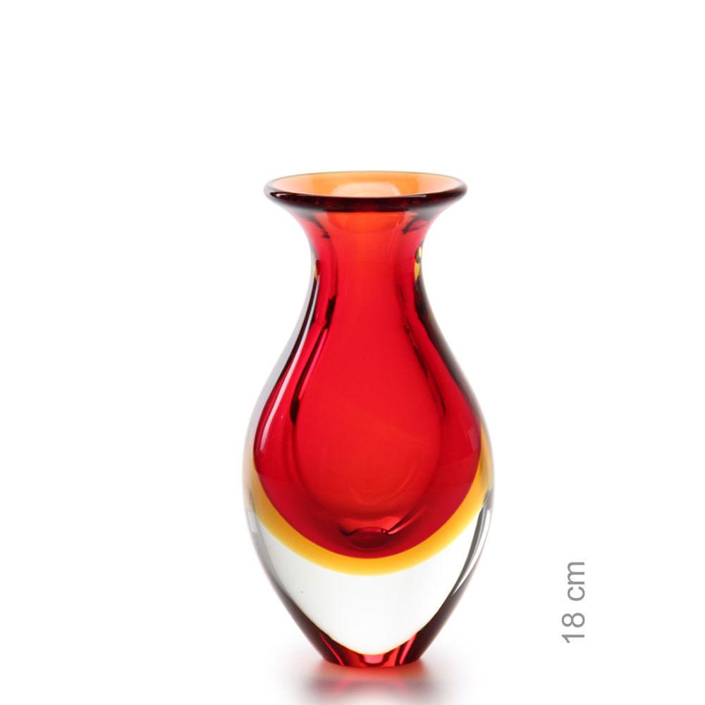 Vasinho 2 Bicolor Vermelho com Âmbar Murano Cristais Cadoro