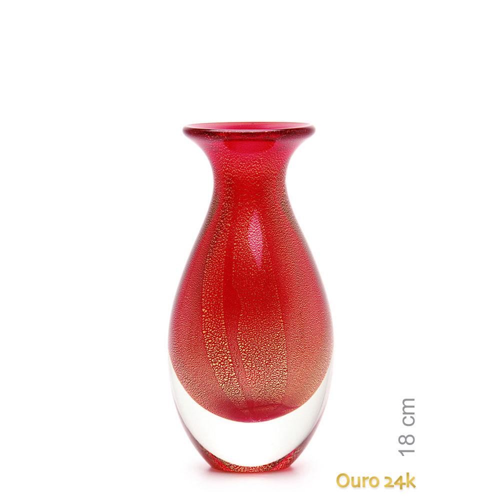 Vasinho 2 Vermelho com Ouro Murano Cristais Cadoro