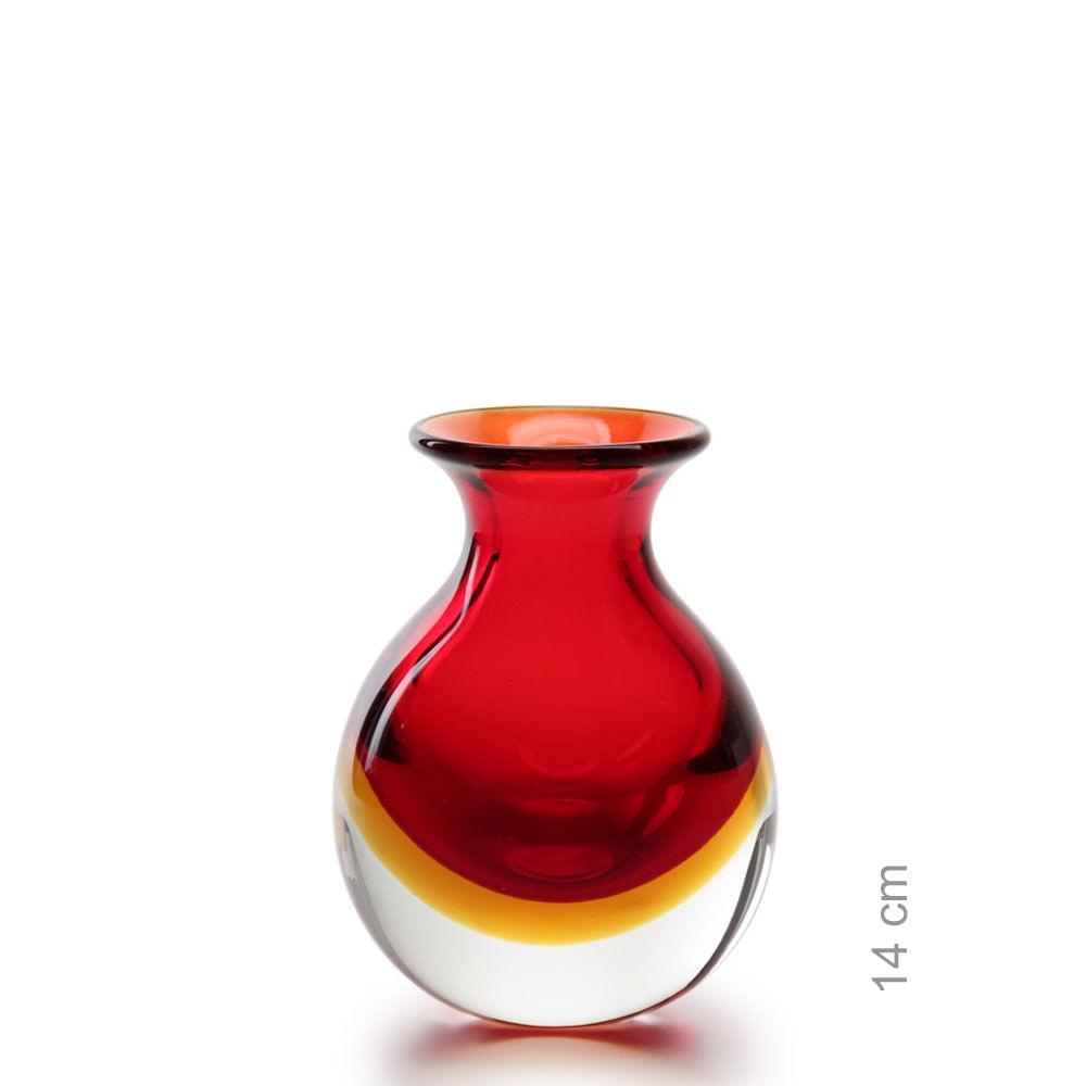 Vasinho 3 Bicolor Vermelho com Âmbar Murano Cristais Cadoro