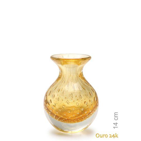 Vaso de vidro com Ouro 24k.