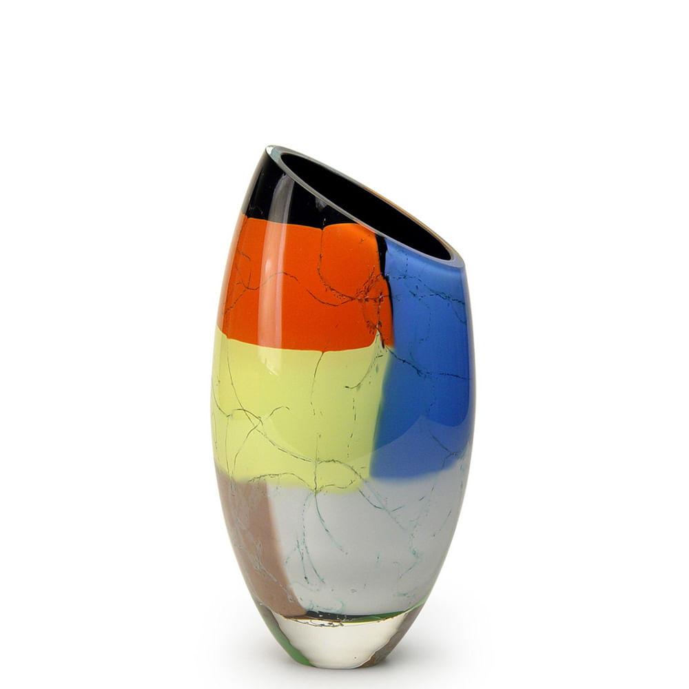 Vaso 50 MS Diagonal Lascas Coloridas Murano Cristais Cadoro