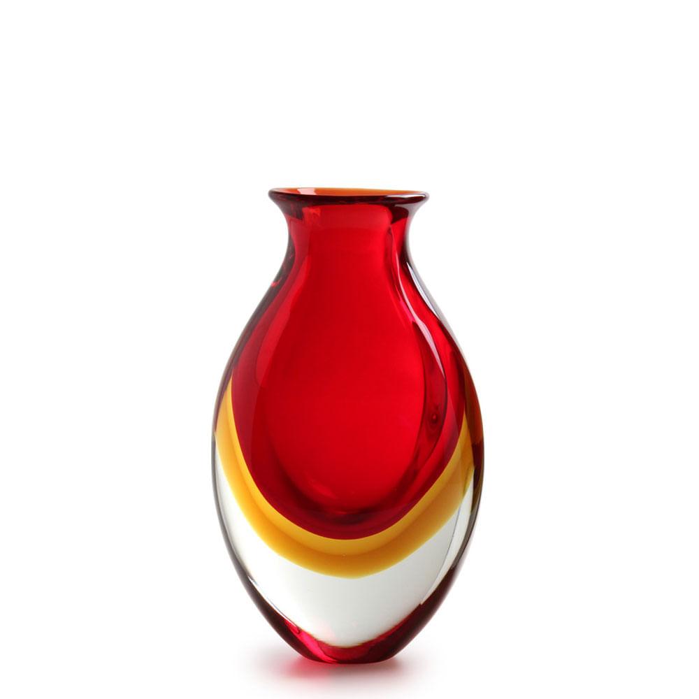 Vaso Gota 3 Bicolor Vermelho com Âmbar Murano Cristais Cadoro