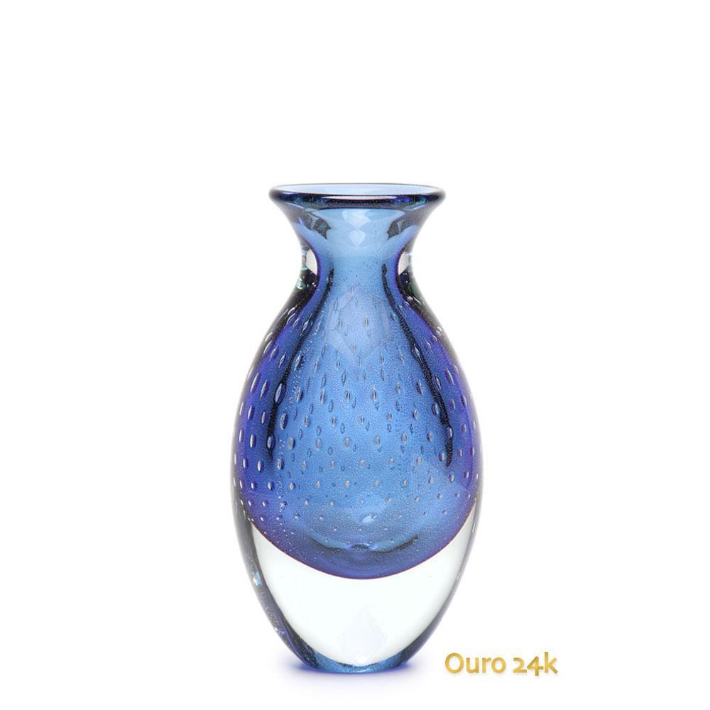 Vaso Gota 3 Tela Azul com Ouro Murano Cristais Cadoro