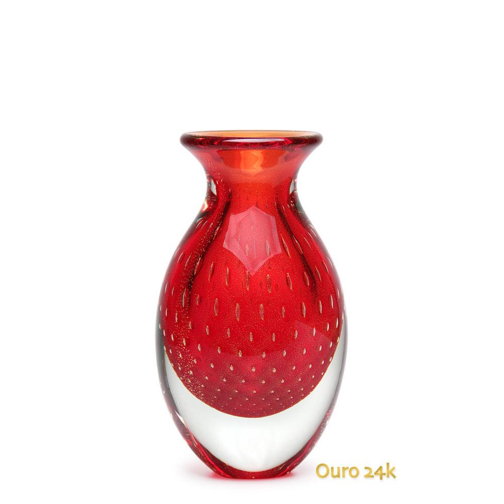Vaso Gota 3 Tela Vermelho com Ouro Murano Cristais Cadoro