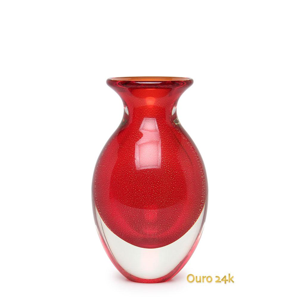 Vaso Gota 3 Vermelho com Ouro Murano Cristais Cadoro