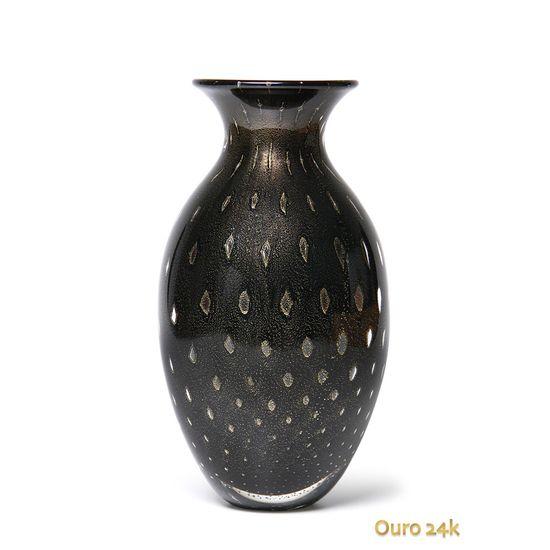 vaso pérola oval tela preto com ouro