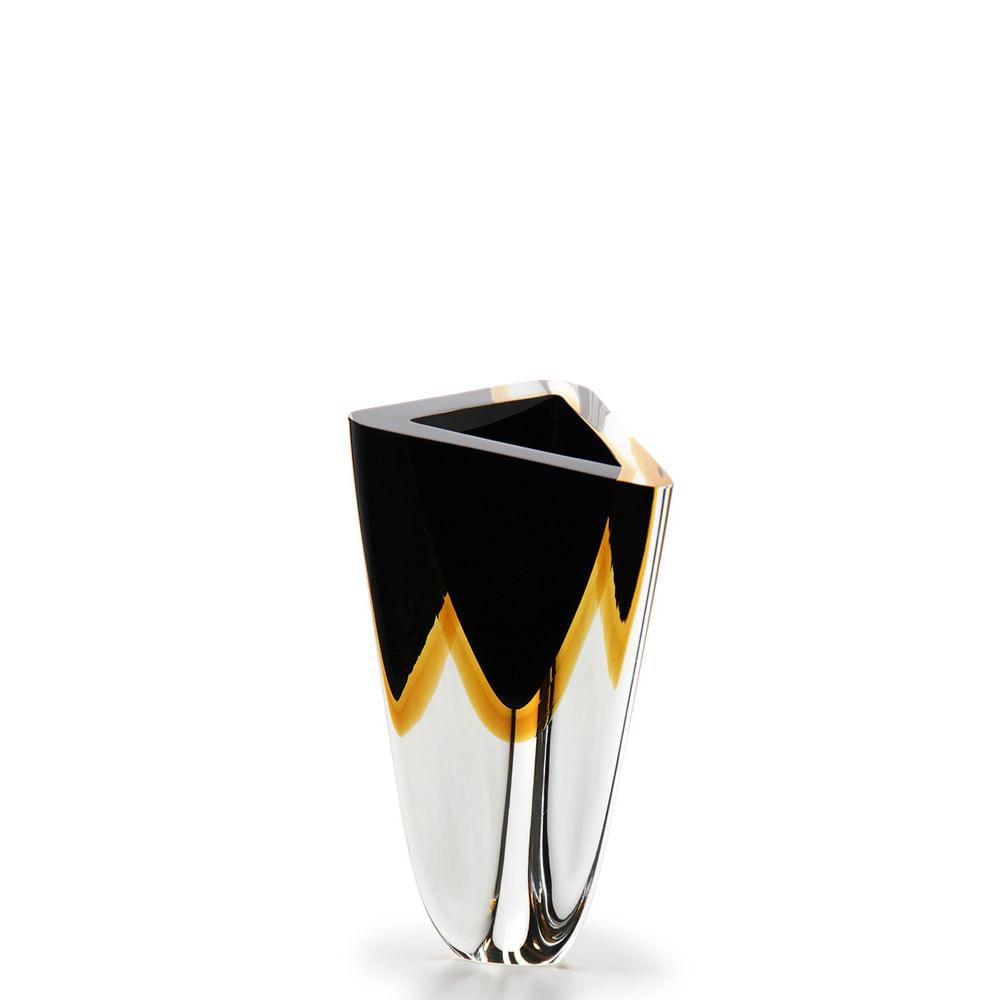 Vaso Triangular nº 3 Bicolor Preto com Âmbar Murano Cristais Cadoro