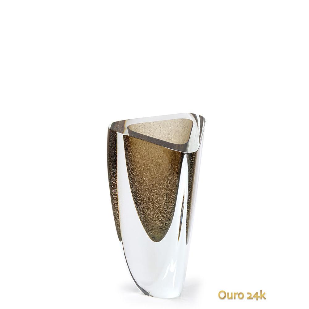Vaso Triangular nº 3 Fumê com Ouro Murano Cristais Cadoro