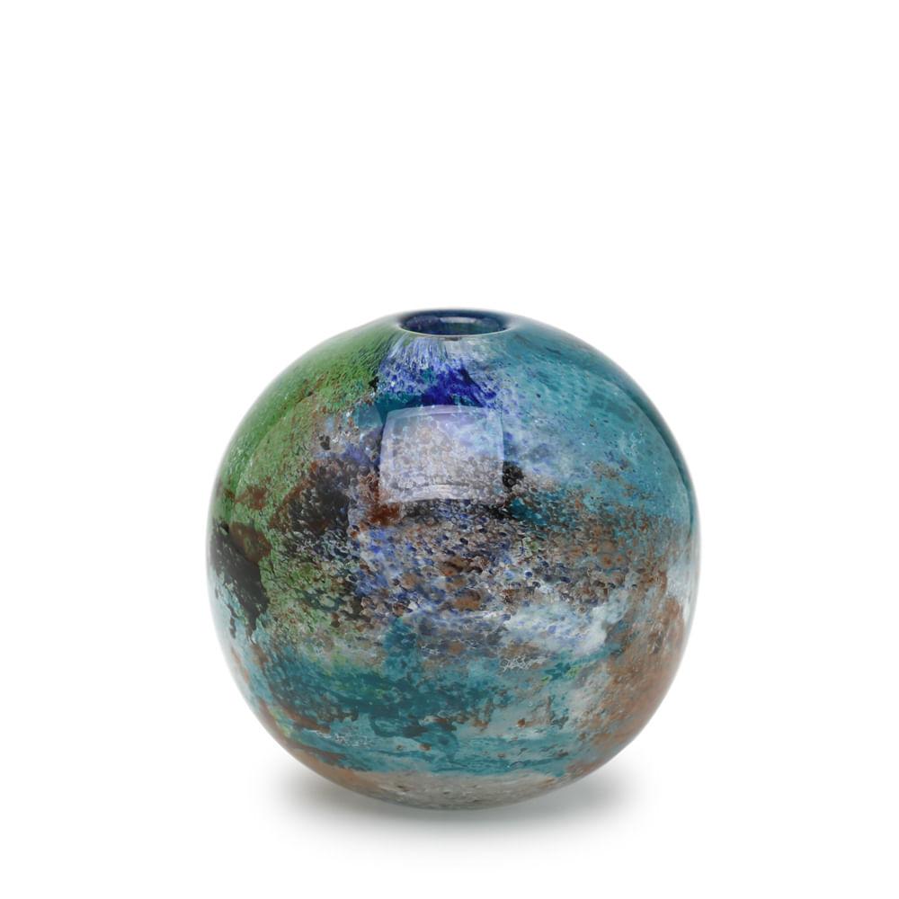 Vaso Bola Mini Planeta Terra Murano Cristais Cadoro