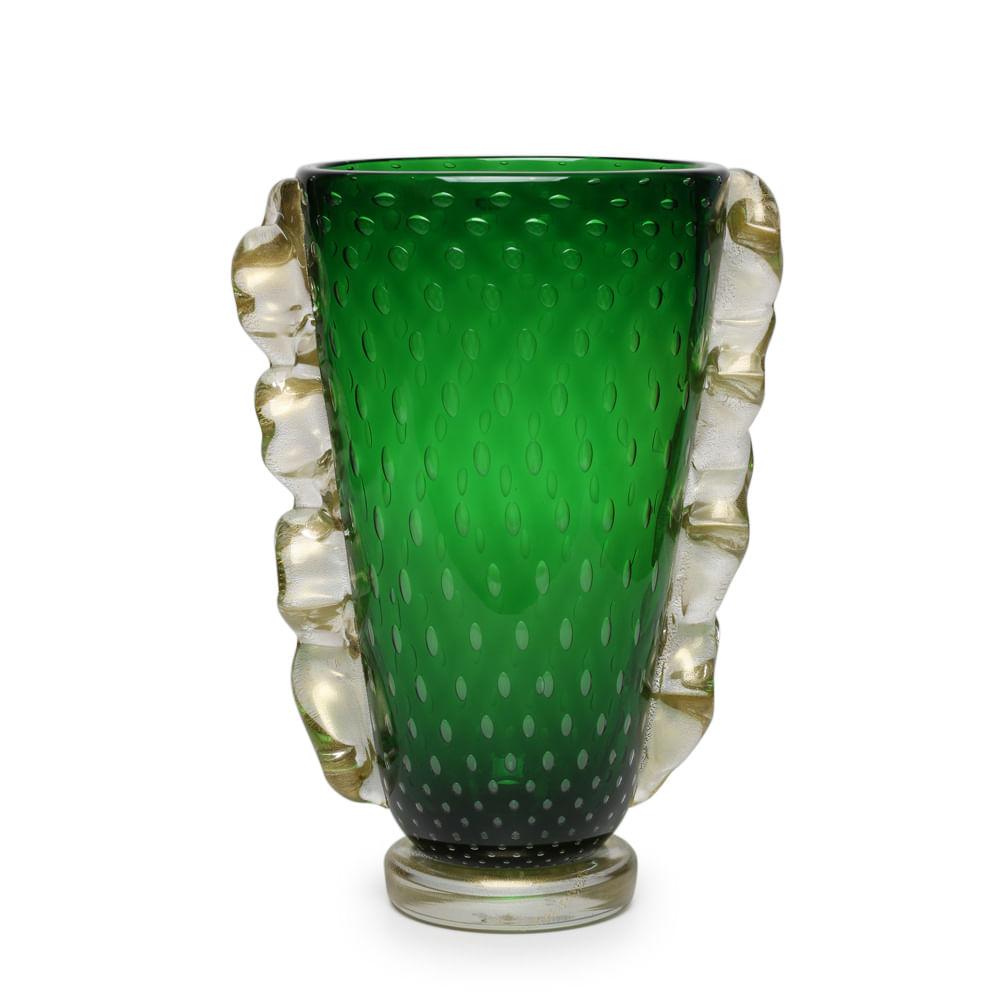 vaso de murano verde com ouro