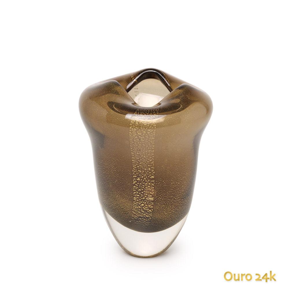 Vaso Oceano Mini 2 Fumê com Ouro Murano Cristais Cadoro