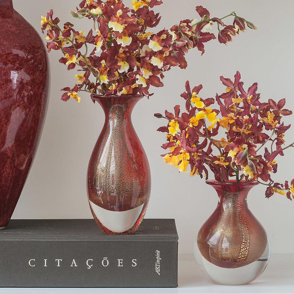 Vasinho 3 Vermelho com Ouro Murano Cristais Cadoro