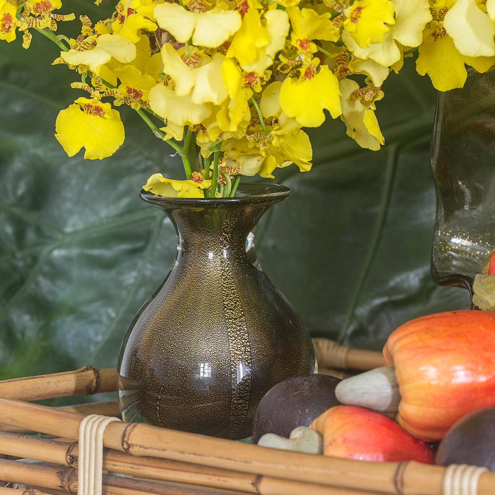 Vasinho 3 Fumê com Ouro Murano Cristais Cadoro