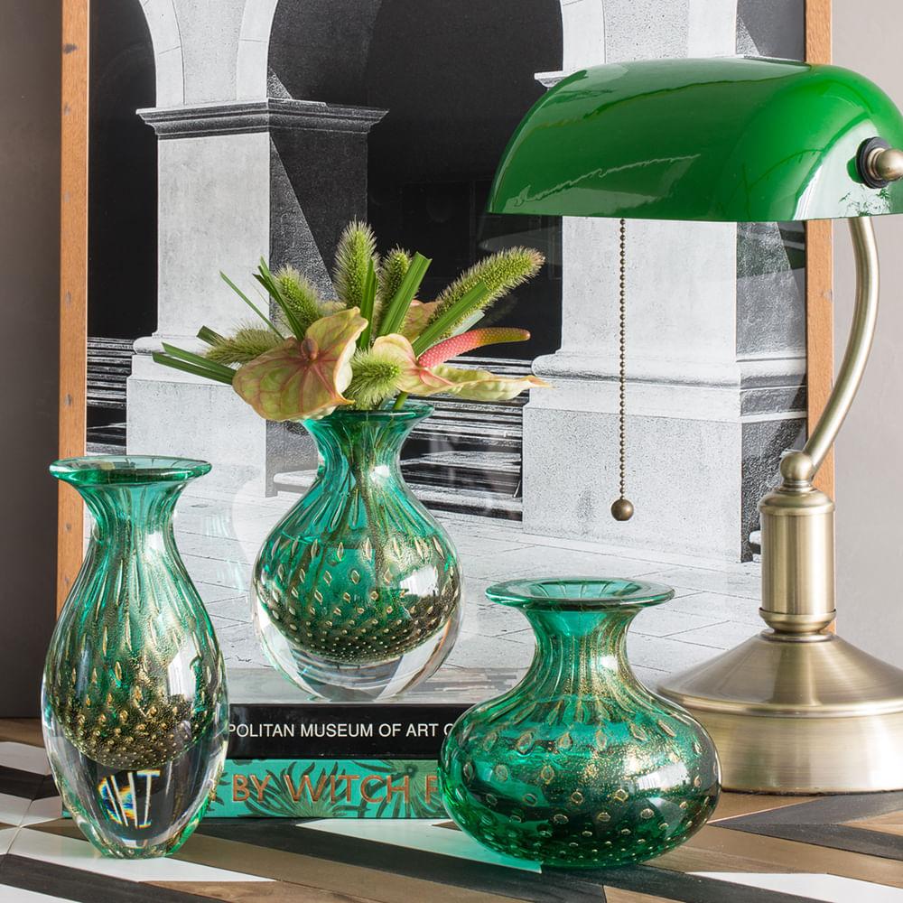 Vasinho 4 Tela Verde com Ouro Murano Cristais Cadoro