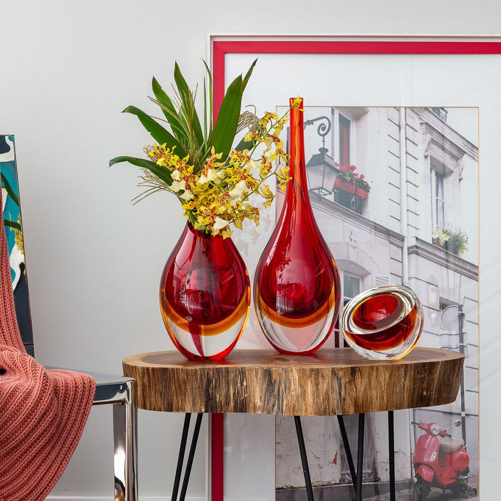 Gota Alta Bicolor Vermelha com Âmbar Murano Cristais Cadoro