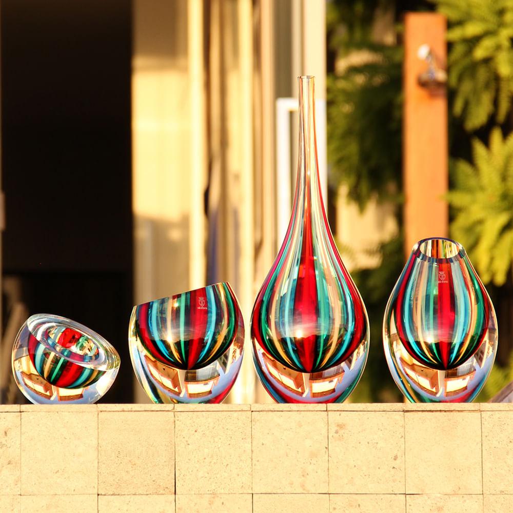 Centro Gota Diagonal com Bastões Coloridos com Fios Murano Cristais Cadoro