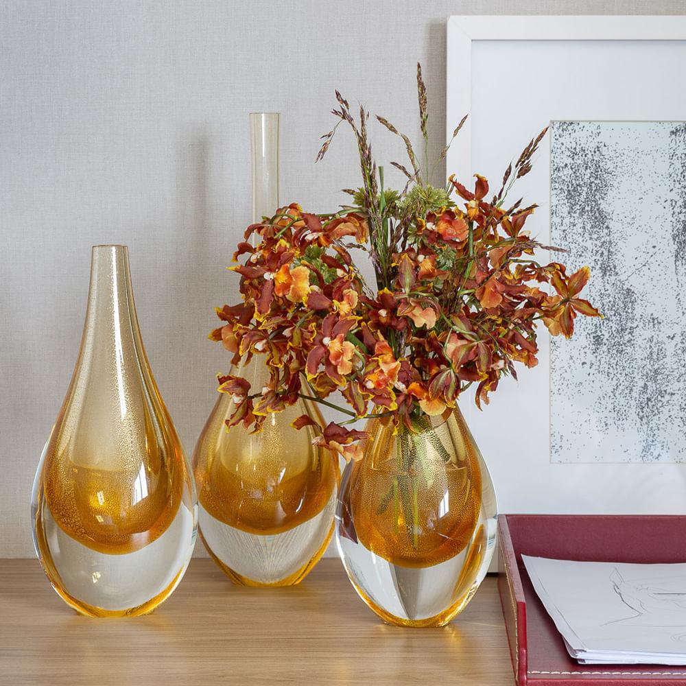 Gota Mini Baixa Âmbar com Ouro Murano Cristais Cadoro