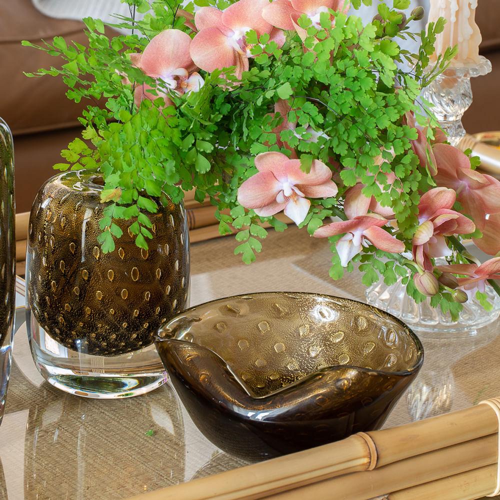 Bowl 1 Tela Fumê com Ouro Murano Cristais Cadoro