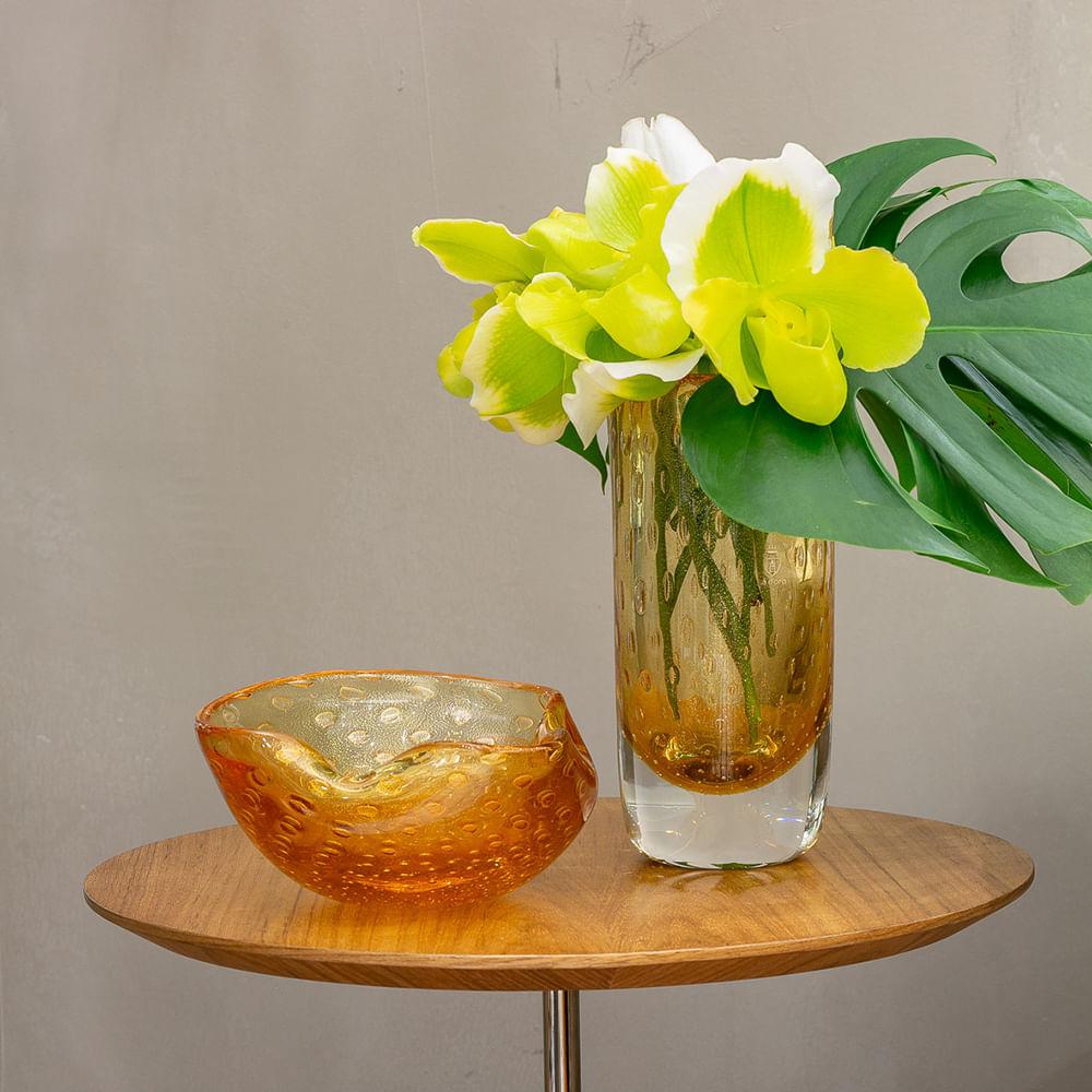 Bowl 2 Tela Âmbar com Ouro Murano Cristais Cadoro