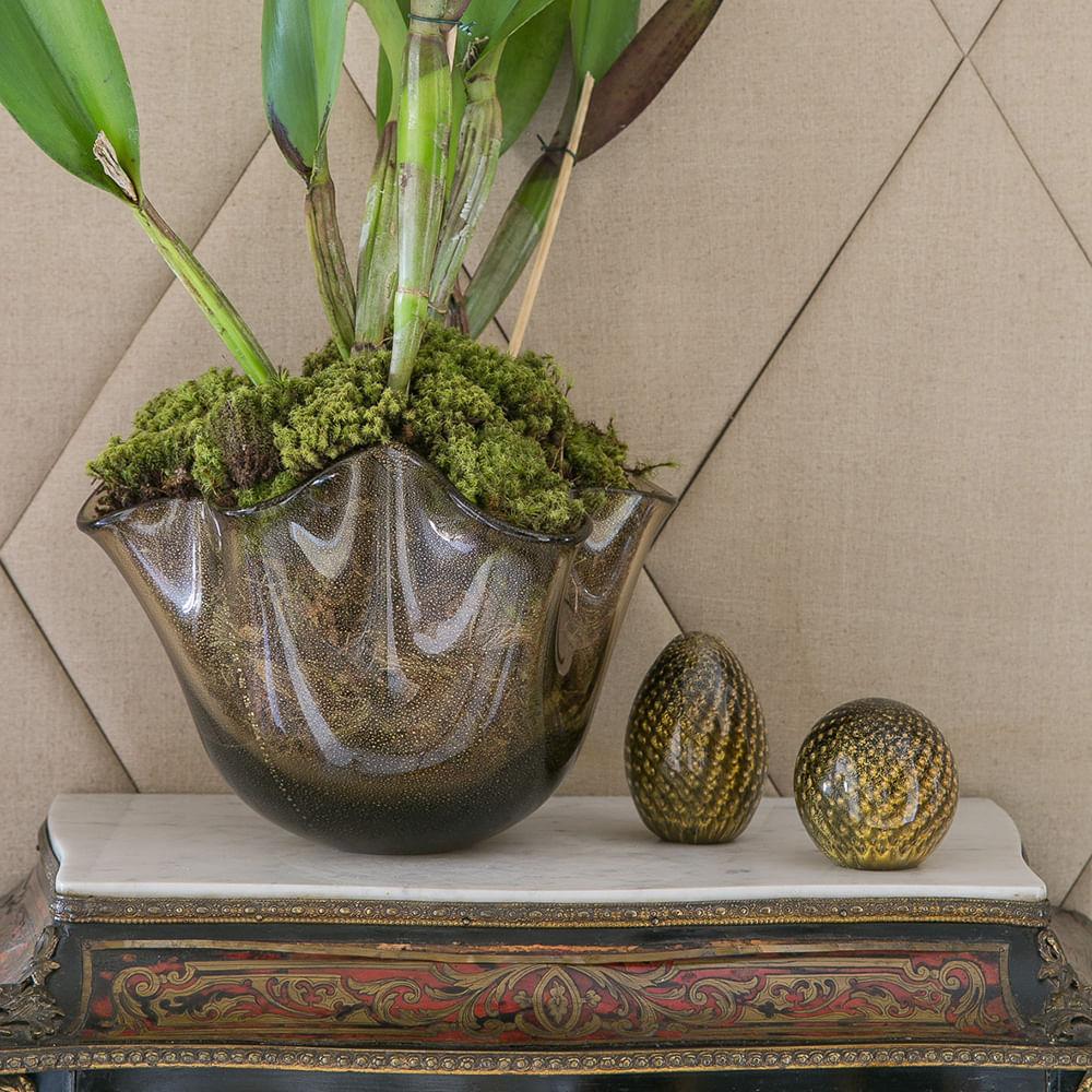 Peso Tela Oval Preto com Ouro Murano Cristais Cadoro