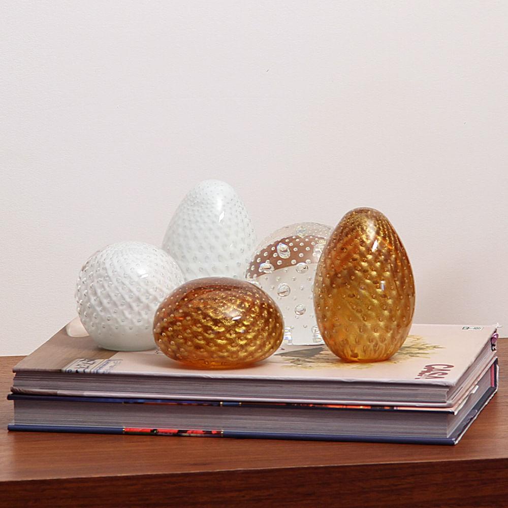 Peso Tela Oval Âmbar com Ouro Murano Cristais Cadoro