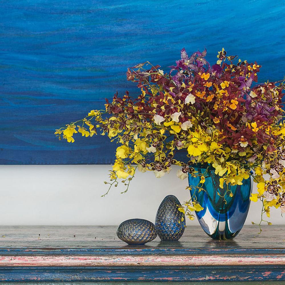 Peso Tela Oval Água-marinha com Ouro Murano Cristais Cadoro