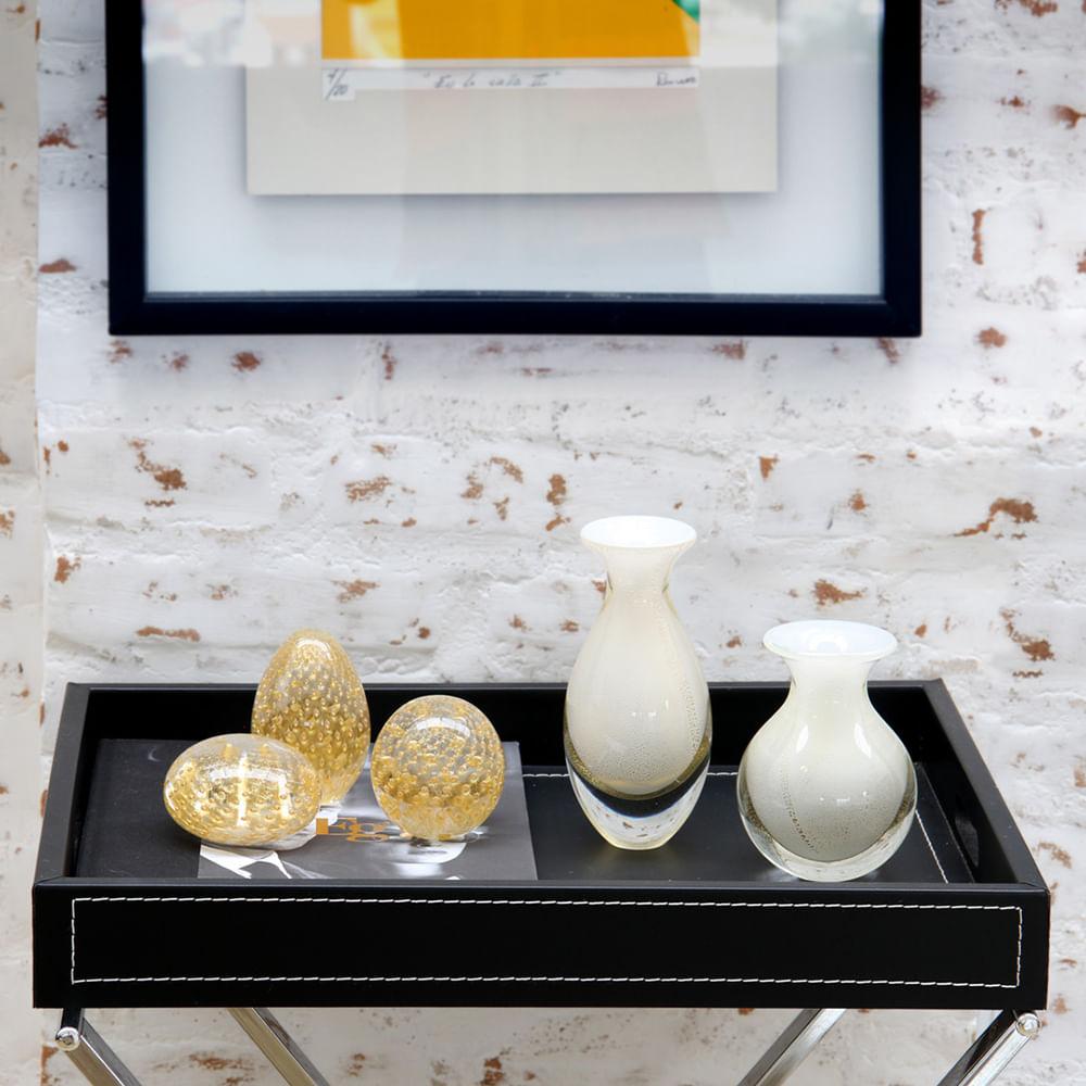 Peso Tela Oval Transparente com Ouro Murano Cristais Cadoro