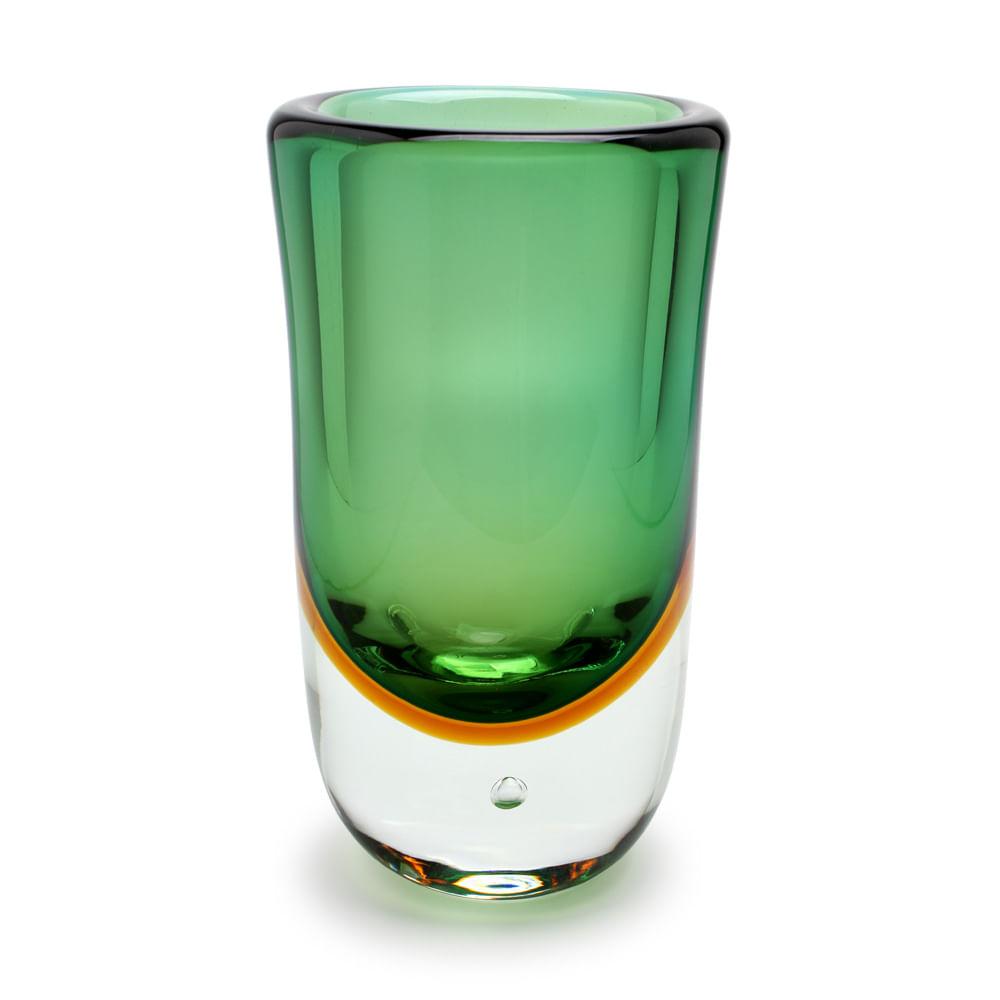 Vaso Alto com Bolha Bicolor Verde com Âmbar Murano Cristais Cadoro
