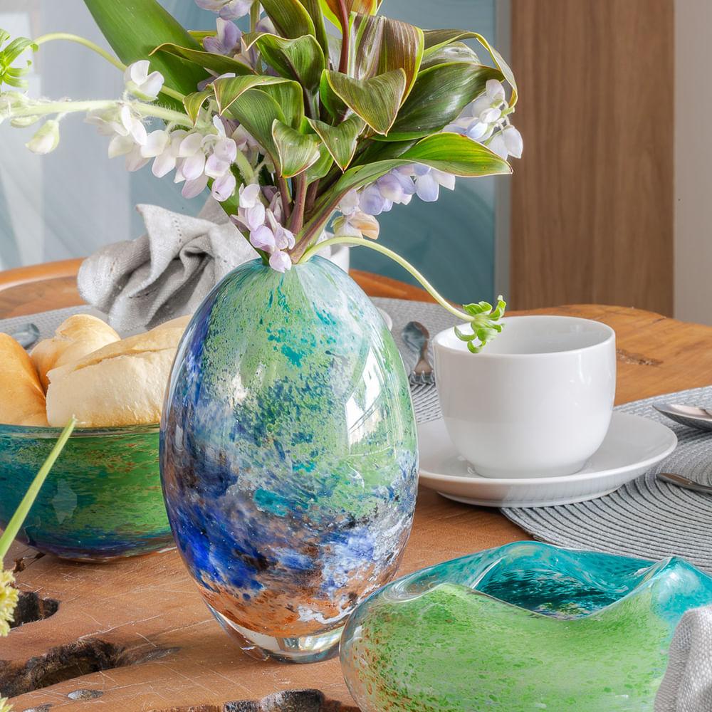 Vaso Oval Mini Planeta Terra Murano Cristais Cadoro