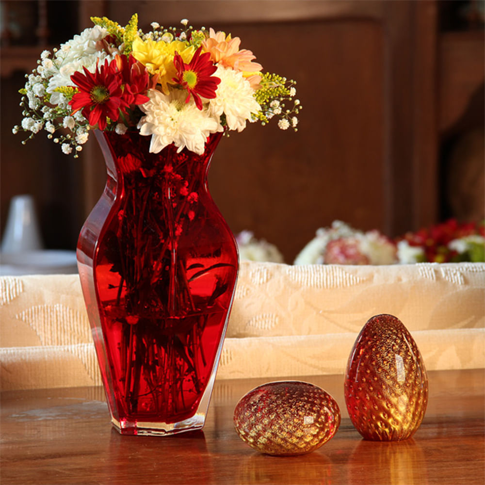 Peso Tela Oval Vermelho com Ouro Murano Cristais Cadoro