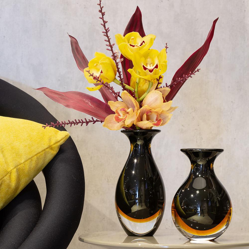 Vasinho 2 Bicolor Preto com Âmbar Murano Cristais Cadoro