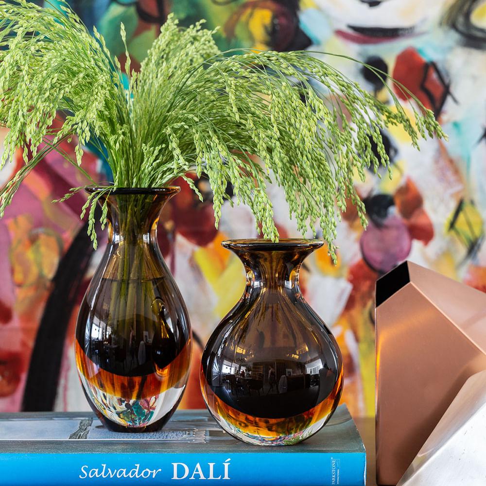 Vasinho 2 Bicolor Fumê com Âmbar Murano Cristais Cadoro