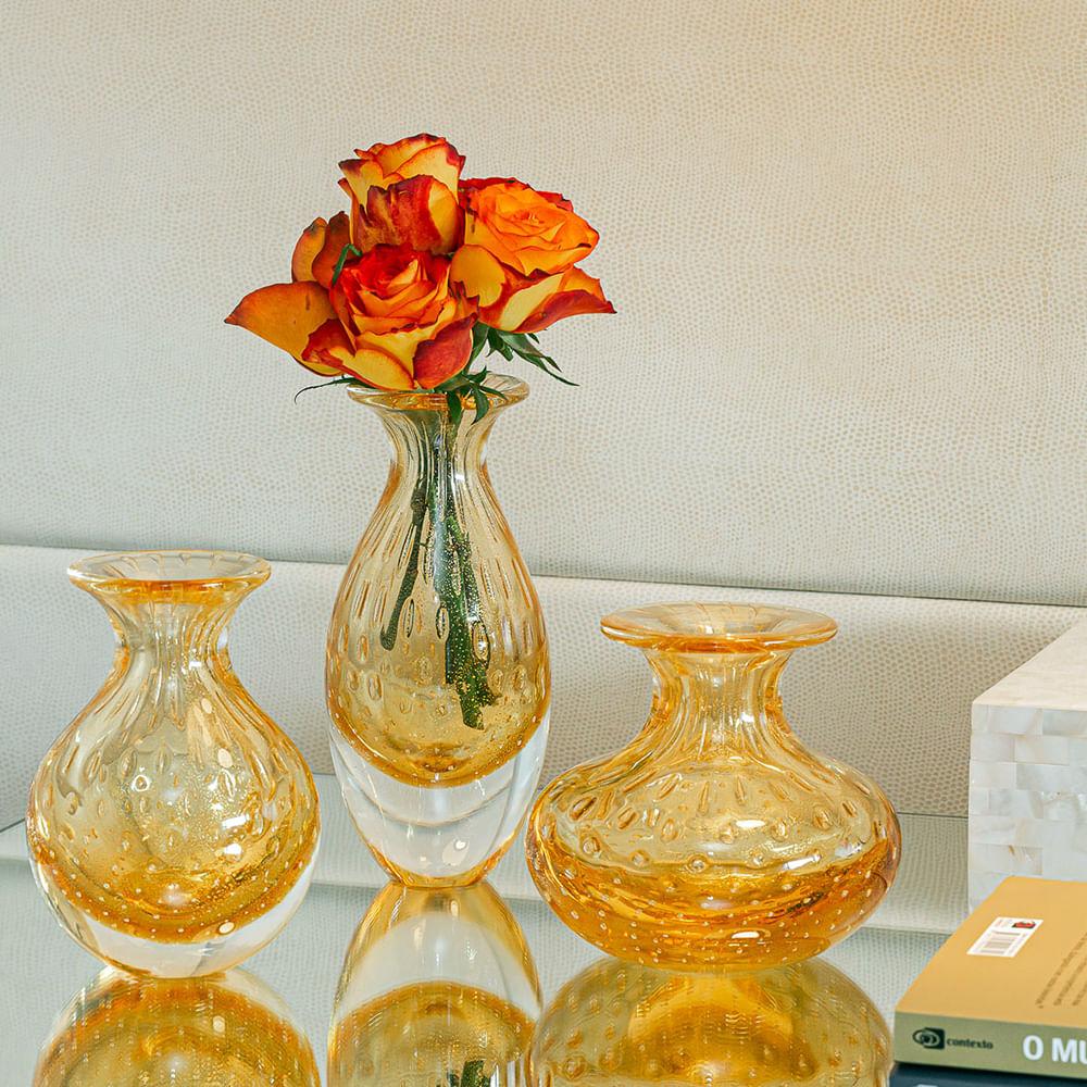 Vasinho 2 Tela Âmbar com Ouro Murano Cristais Cadoro