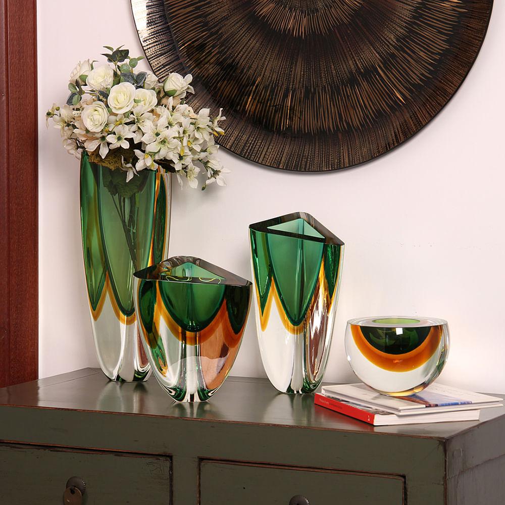 Vaso Triangular nº 3 Bicolor Verde com Âmbar Murano Cristais Cadoro