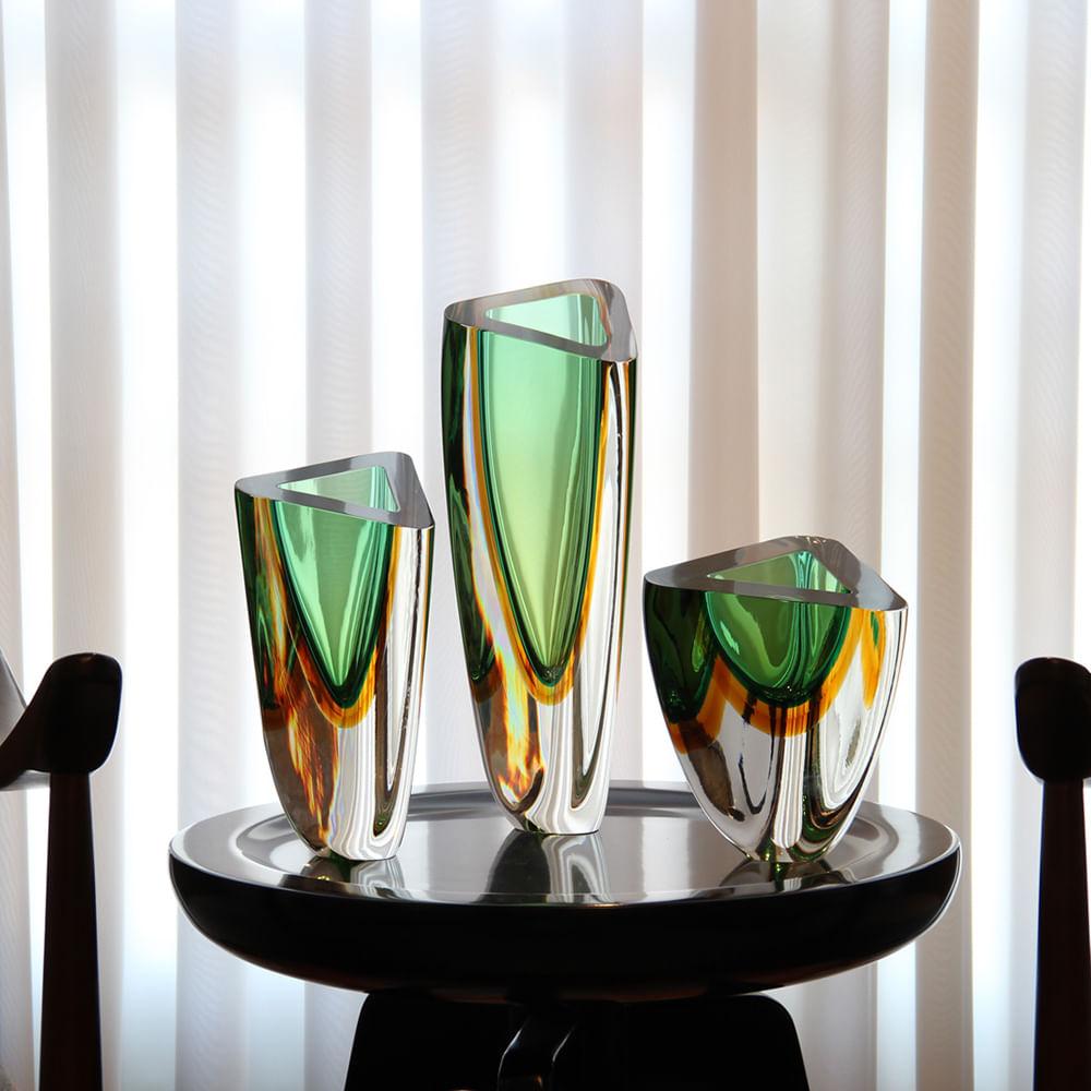 Vaso Triangular nº 4 Bicolor Verde com Âmbar Murano Cristais Cadoro