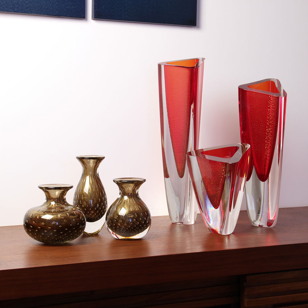 Vaso Triangular nº 4 Vermelho com Ouro Murano Cristais Cadoro