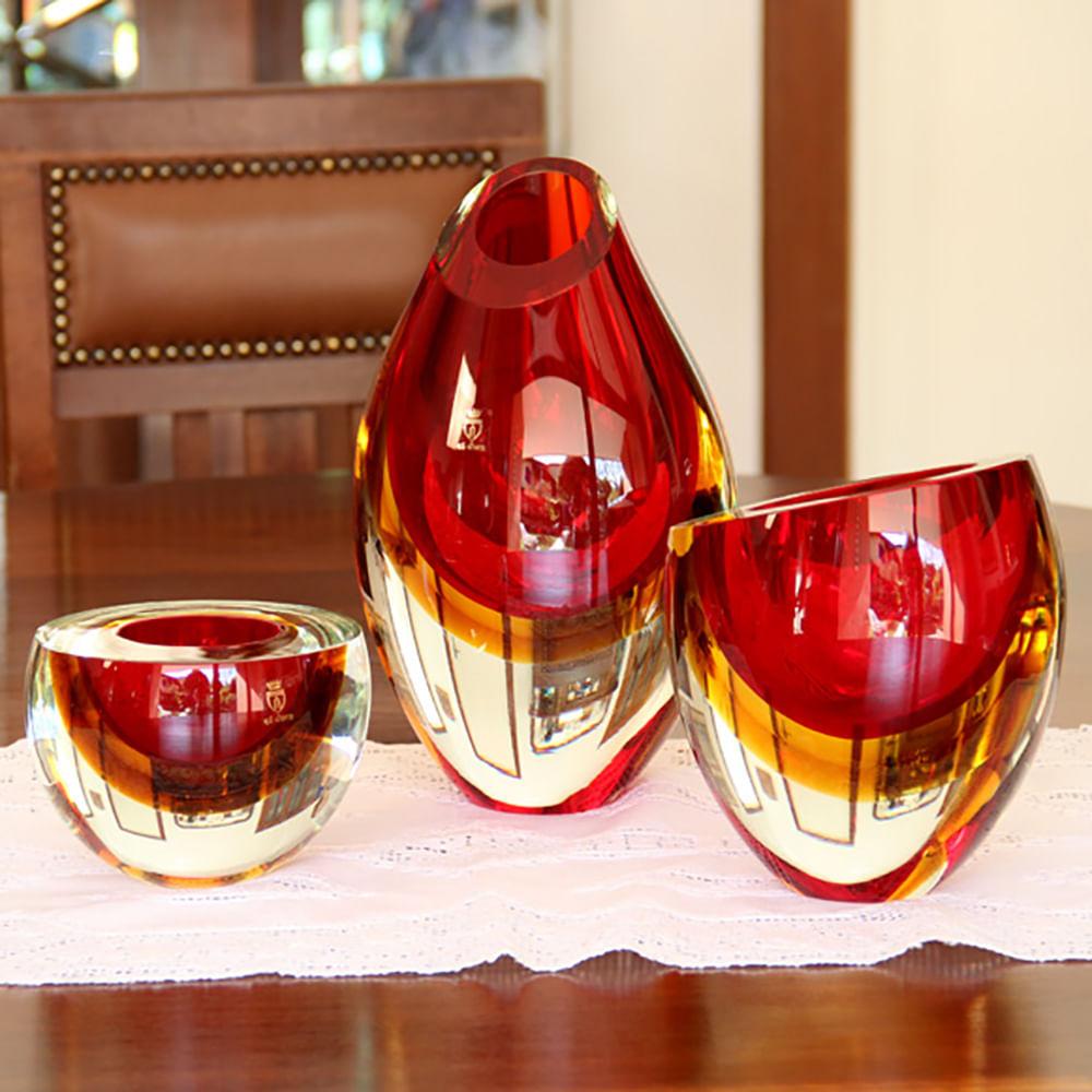 Centro Gota Bicolor Reto Vermelho com Âmbar Murano Cristais Cadoro