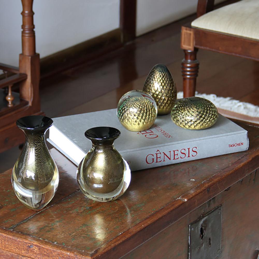 Vasinho 2 Preto com Ouro Murano Cristais Cadoro