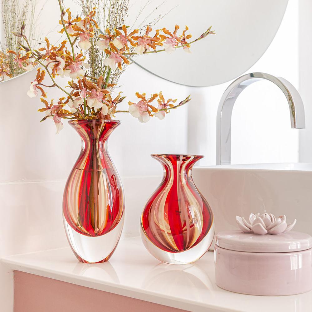 Vasinho 2 com Bastões Vermelho, Roxo e Âmbar Murano Cristais Cadoro