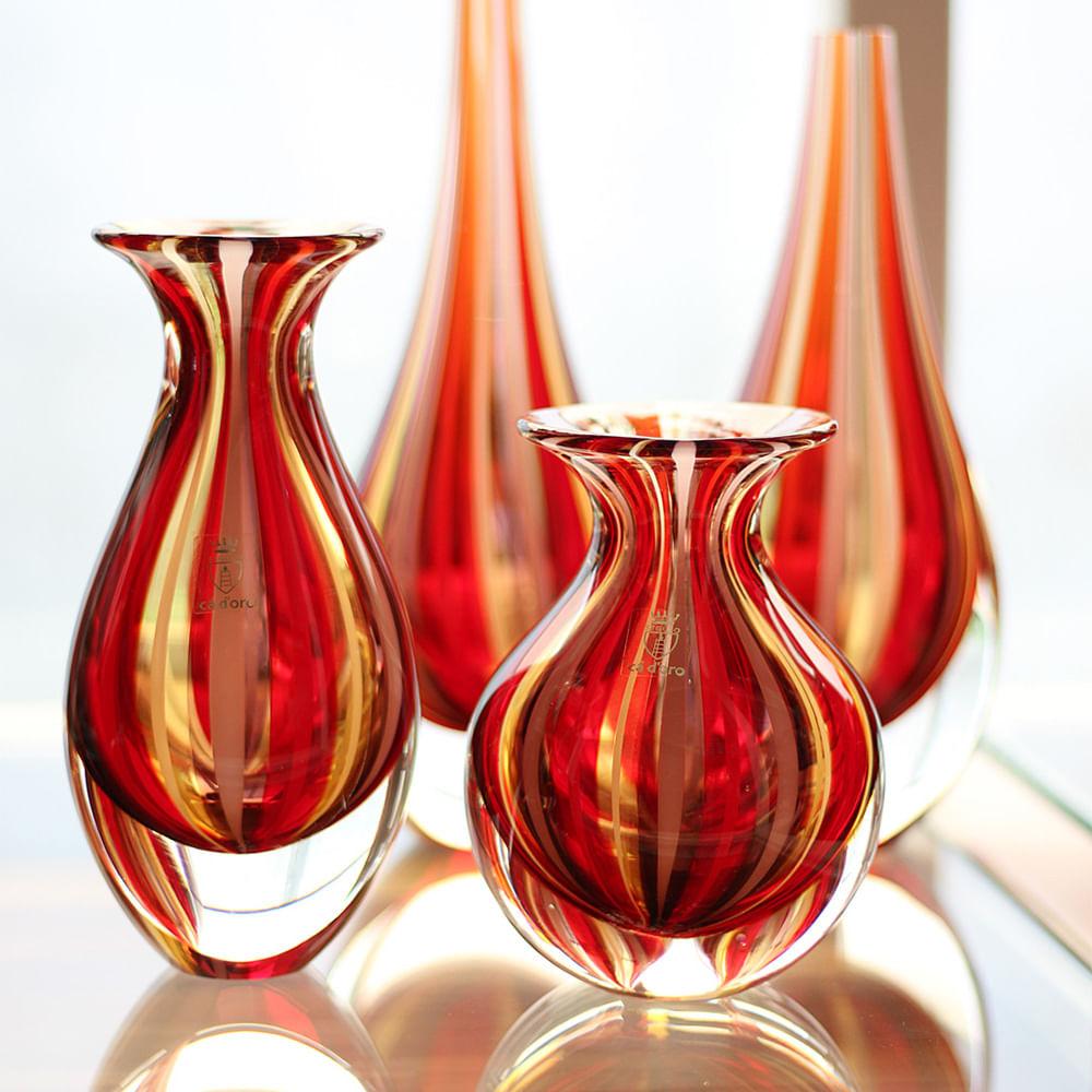 Vasinho 3 com Bastões Vermelho, Roxo e Âmbar Murano Cristais Cadoro